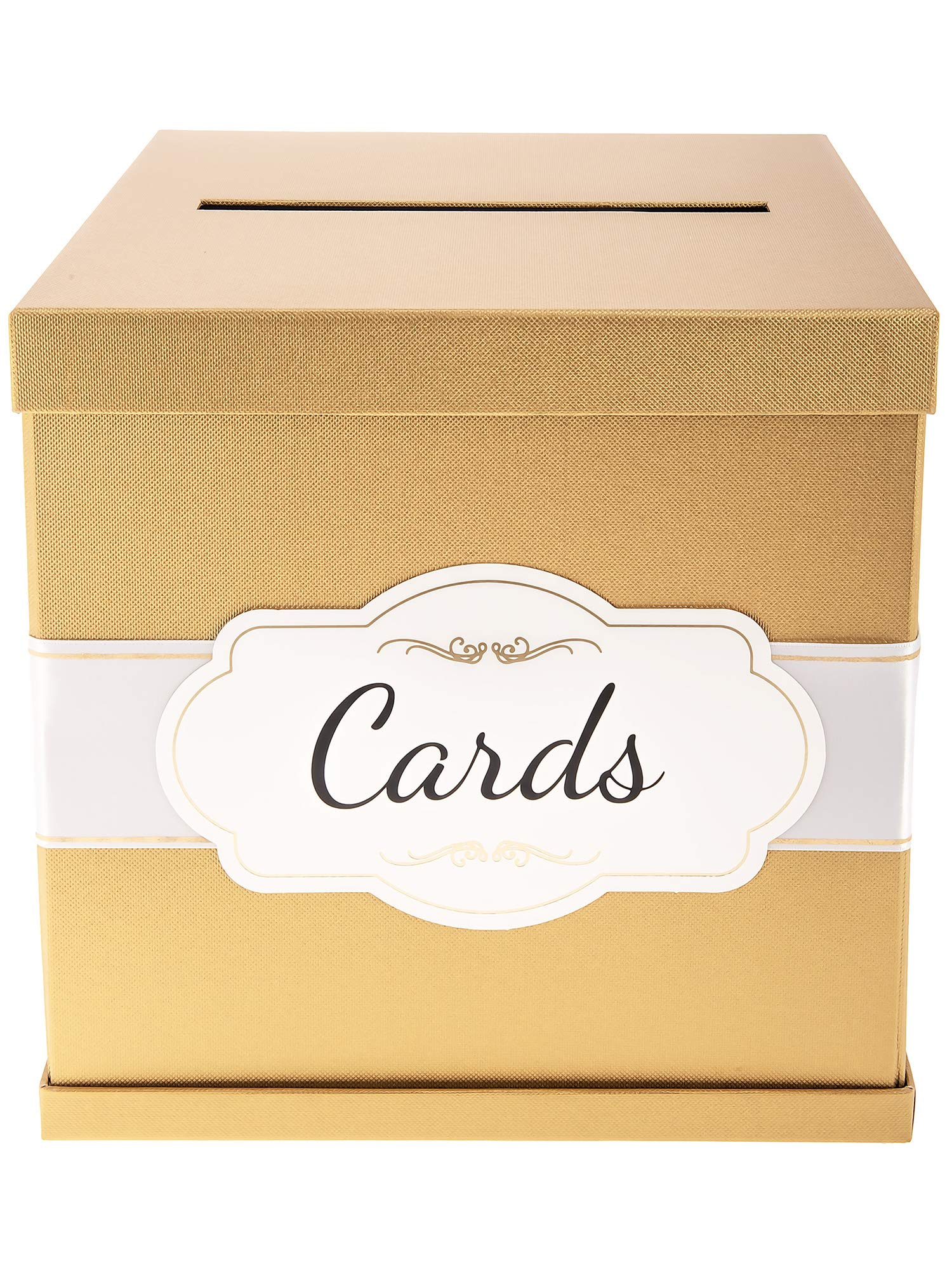 Merry Expressions Gold Gift Card Box with White/Gold-Foil Satin Ribbon & Cards Label - 10''x10'' Large Textured Finish, Perfect for Wedding Receptions, Birthdays, Graduations, Bridal & Baby Showers