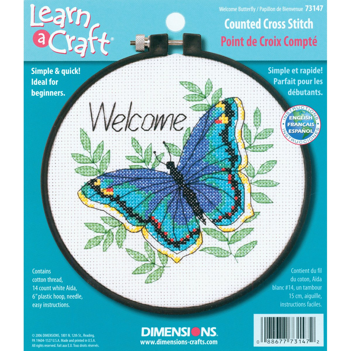 DIMENSIONS 73147 Needlecrafts Counted Cross Stitch, Welcome Butterfly