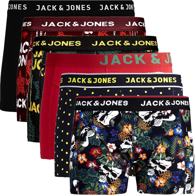 JACK & JONES Juego de 6 calzoncillos tipo bóxer para hombre, mezcla de algodón