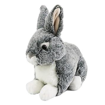 Amazon Com Houwsbaby Wildlife Gray Rabbit Stuffed Animal Realistic