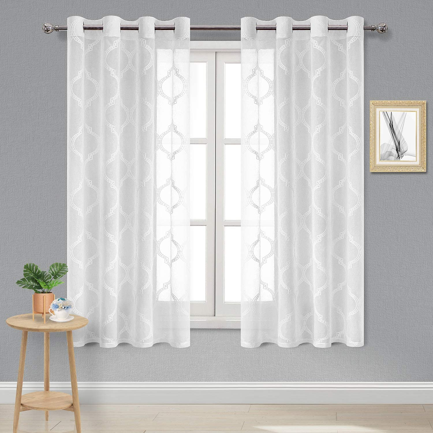 DWCN Faux Linen Sheer Curtains - Moroccan Embroidered Grommet Top Semi Voile Bedroom and Living Room Window Curtains, Set of 2 Panels, 52 x 63 Inch Length, Off White