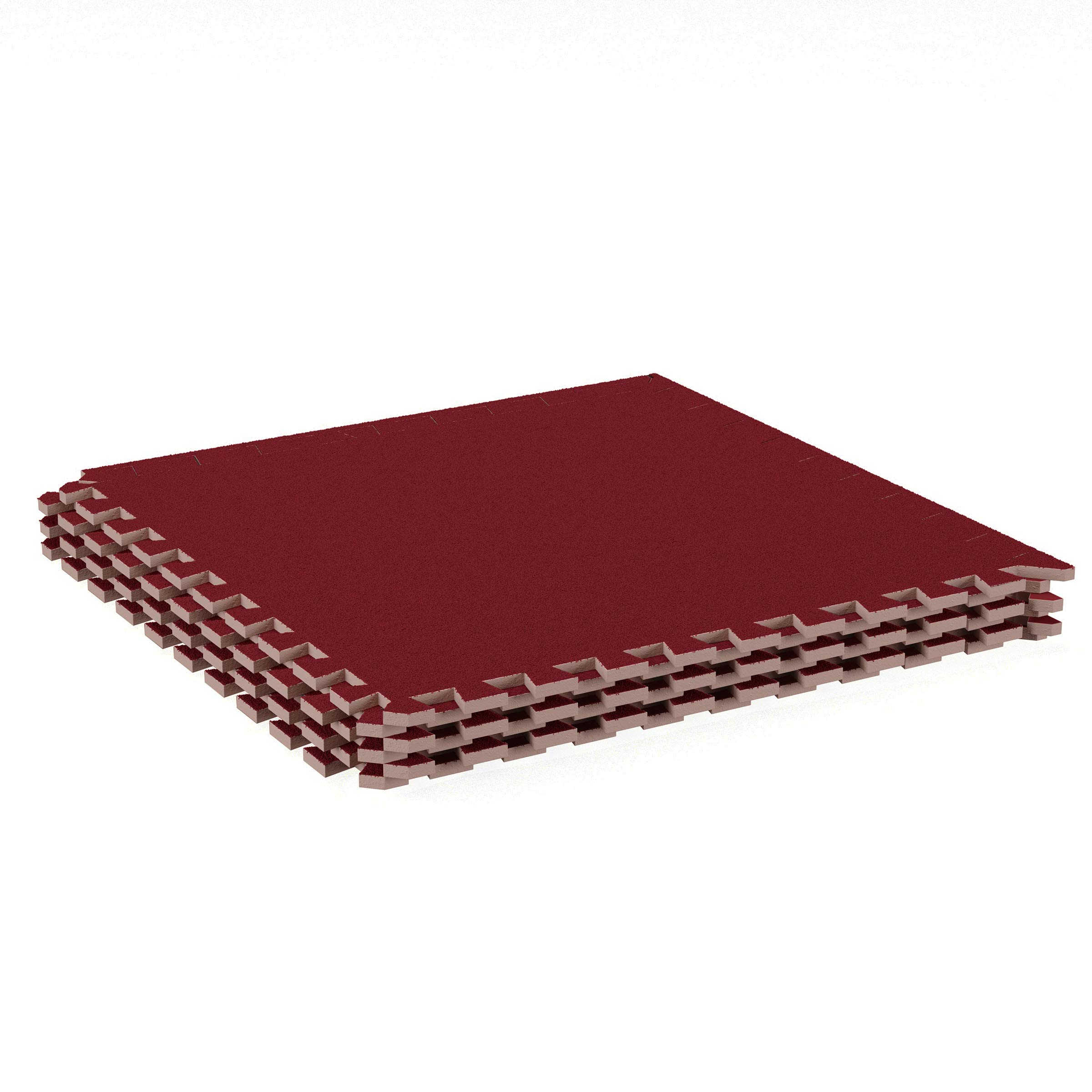 Stalwart Foam Mat Floor Tiles-Interlocking EVA Foam Padding with Soft Carpet Top for Exercise, Yoga, Kids Playroom, Garage, Basement-6 PC Set (Red)