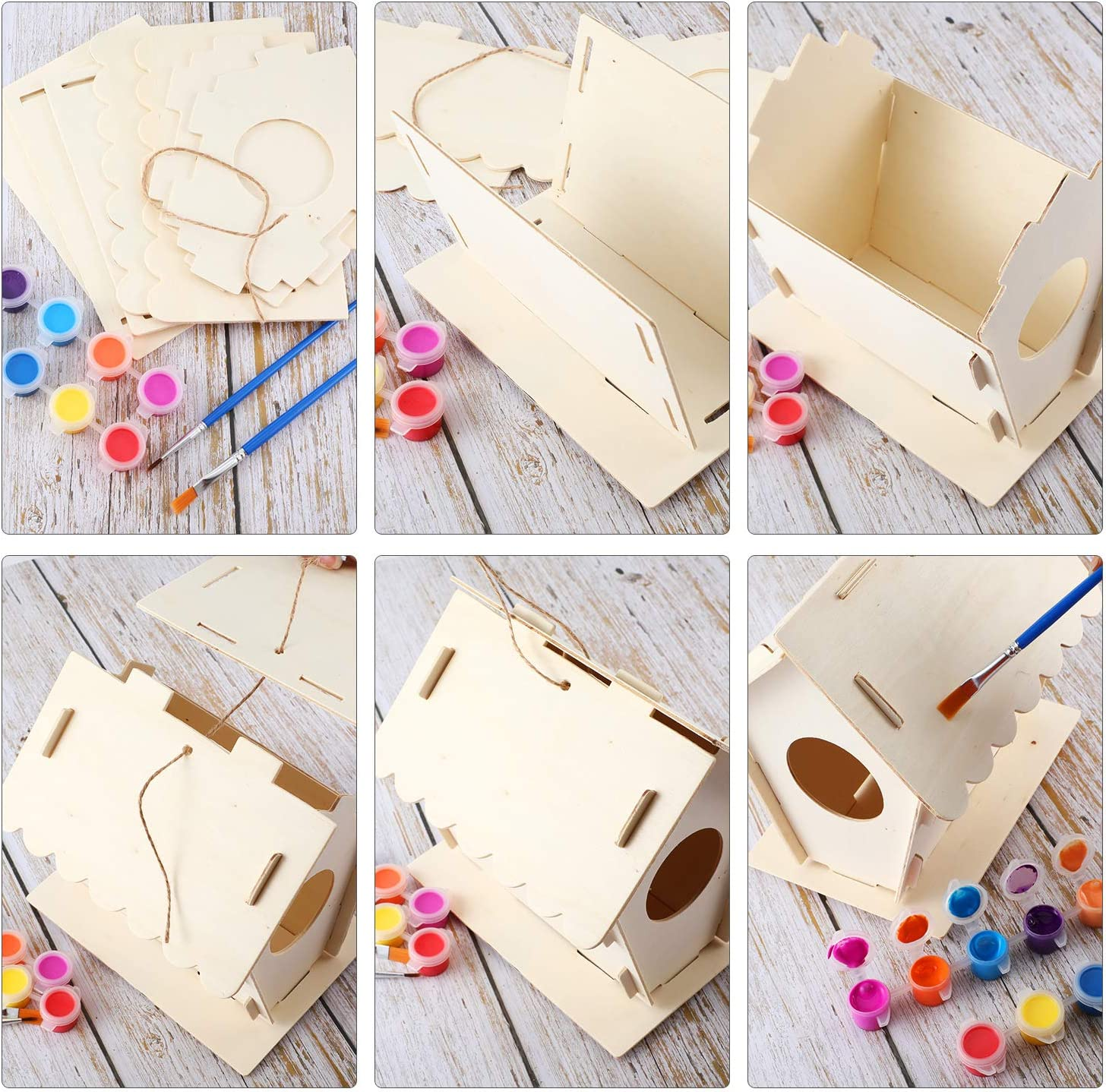 2 Set DIY Wooden Birdhouse Kits Unfinished Hanging Wood Bird Houses with Twine 2 Brushes for Kids to Build and Paint Birdhouse 12 Colors Paints