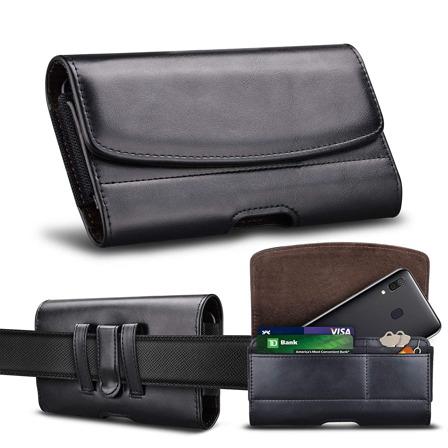 Tiflook Horizontal Phone Holster Fit for LG V30/Phoenix Plus/Phoenix 4/K30/G7/G6 ThinQ/Aristo 3 and More, Premium Leather Carrying Phone Pouch Belt Clip Case Holster with Card Holder Slot (Black)