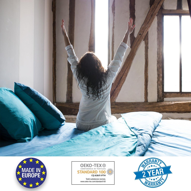 Bicolore R/éversible Bleu C/érul/éen et Bleu Turquoise Dreamzie Parure de Lit 230x220 Adulte Housse de Couette et 2 taies doreillers Taie d/'Oreiller 50x75 cm 100/% Coton 57 Fils Oeko TEX