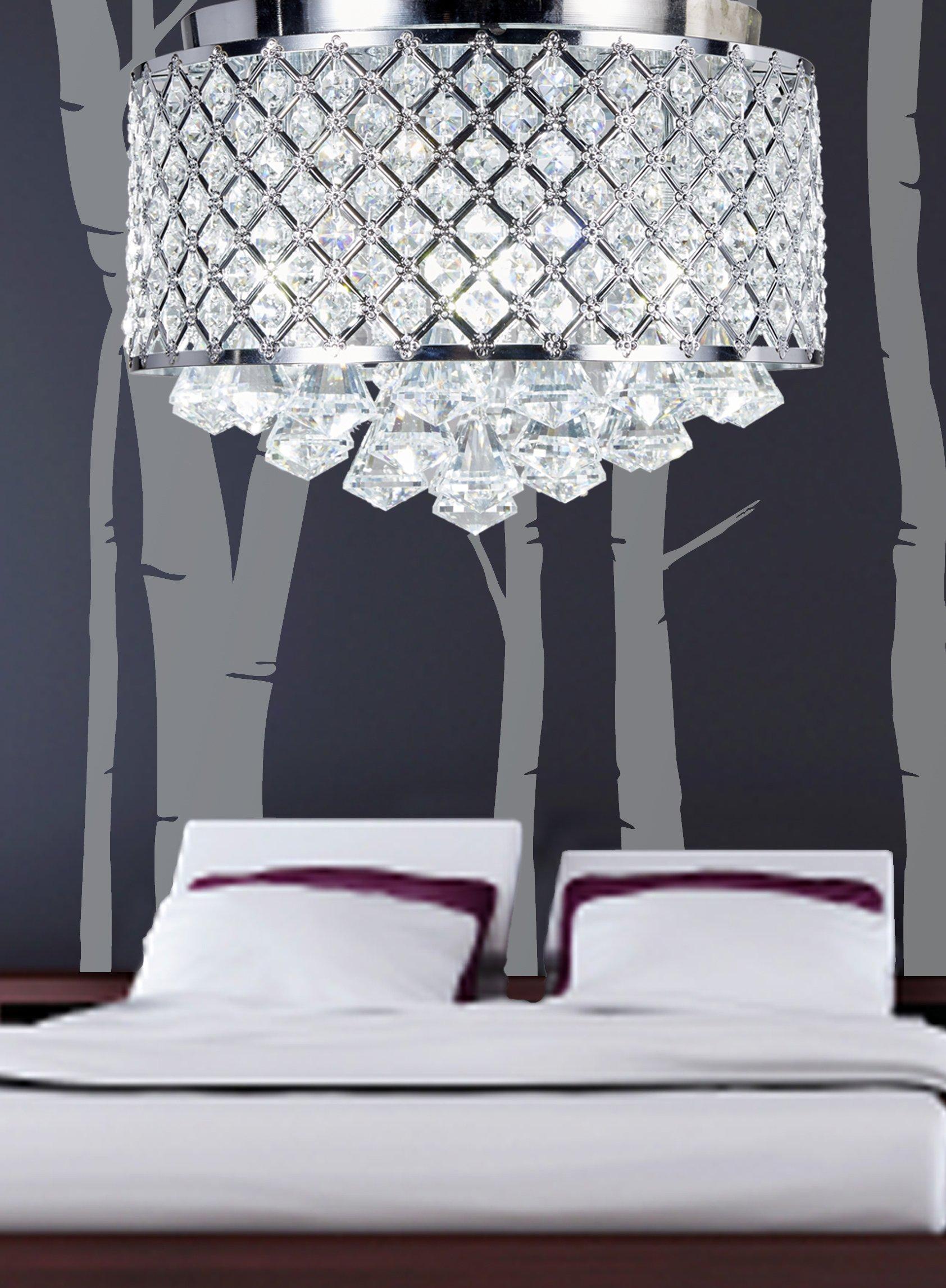 Diamond Life 4-light Chrome Finish Round Metal Shade Crystal Chandelier Flush Mount Ceiling Fixture