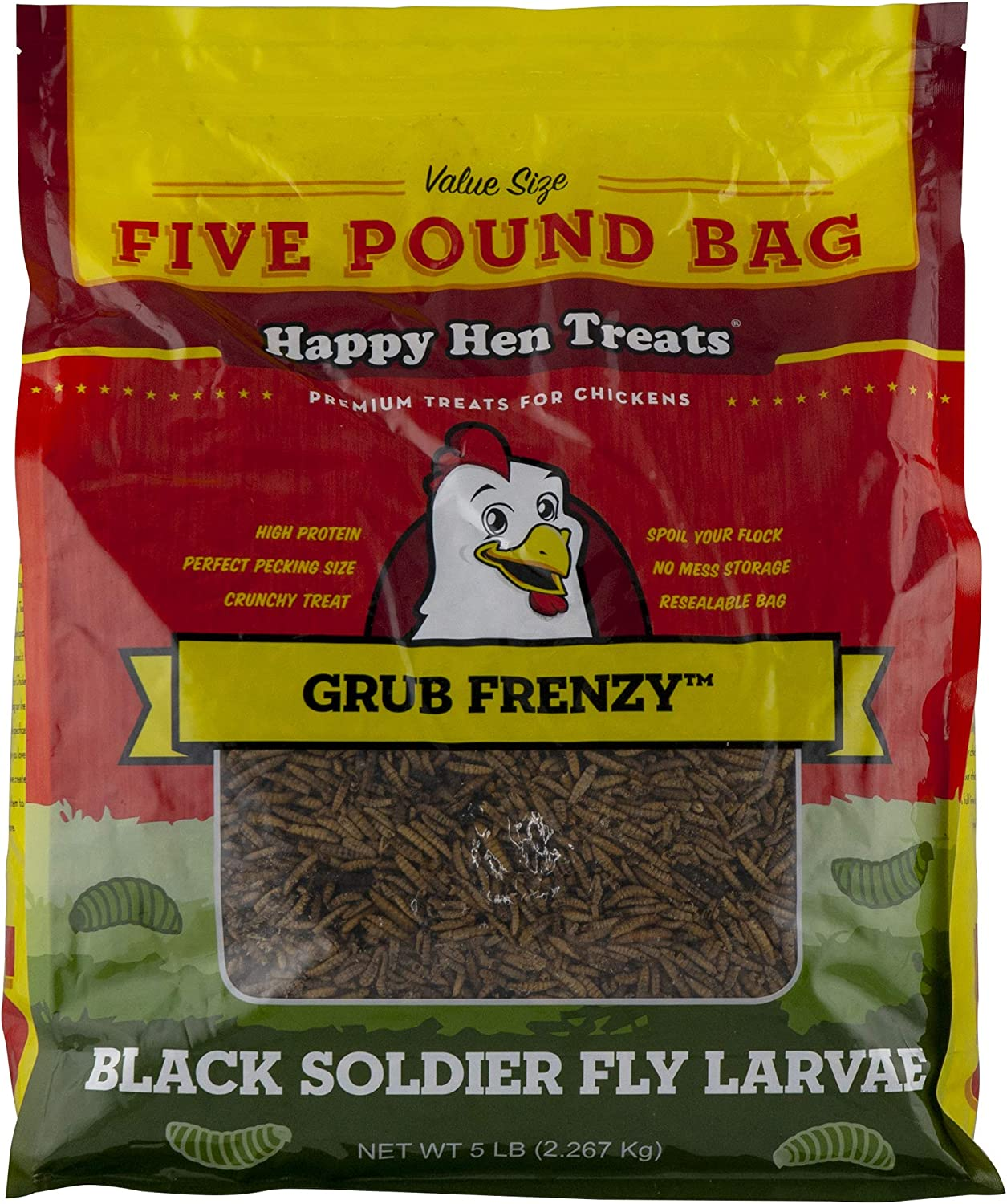 Happy Hen Treats Mealworm Frenzy, 5 Pounds, All Natural Dried Mealworms for Backyard Poultry