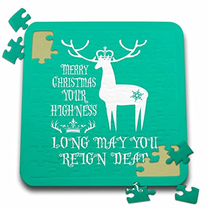 russ billington christmas designs funny reindeer play on words design in white on teal