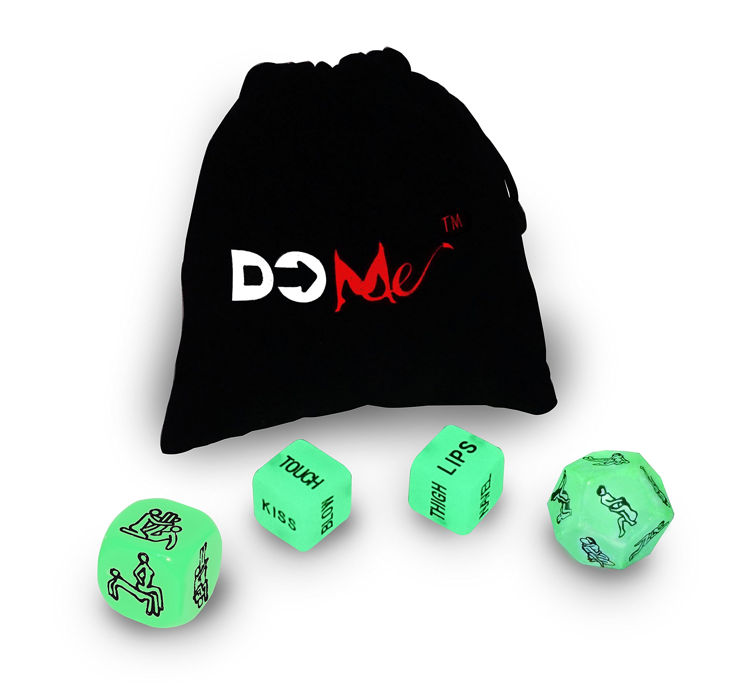 New! Dice for Partners - 2 Action Dice + 2 Position Dice in a Black Velvet Pouch - Glow-in-The-Dark