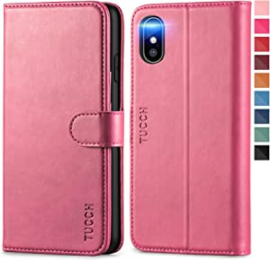 TUCCH iPhone Xs Max Wallet Case, Xs Max Case, TPU Shockproof Interior Case [RFID Blocking] [Card Holder] PU Leather Wireless Charging Stand Auto Wake/Sleep Compatible with iPhone Xs Max- Hot Pink