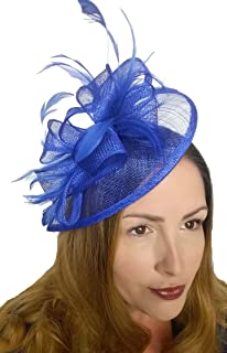 9cc445a0 Royal Blue Sinamay & Feathers Teardrop Fascinator - Occasion Wedding Races