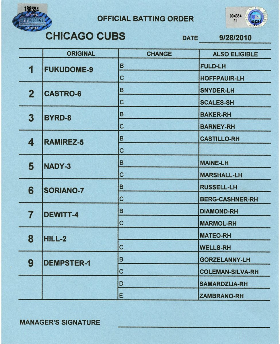 Chicago Cubs at San Diego Padres 9 28 2010 Blue Game Used Line up Card (FJ004384)