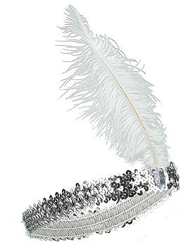 3a20957b Diadema charlestón lentejuelas y pluma plateadas mujer: Amazon.es ...