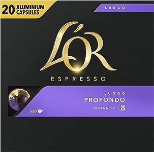 L'Or Espresso Coffee Lungo Profondo - Intensity 8 - 200 Aluminium Capsules Compatible with Nespresso®* Machines (10x20 Pods Pack)
