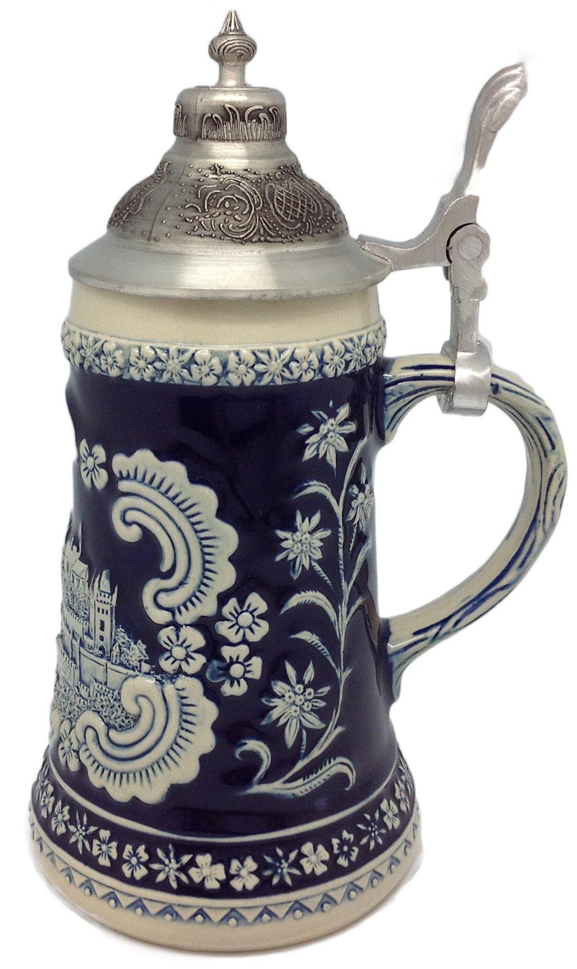 Bavarian German Castle Engraved Ceramic Beer Stein with Ornate Metal Lid