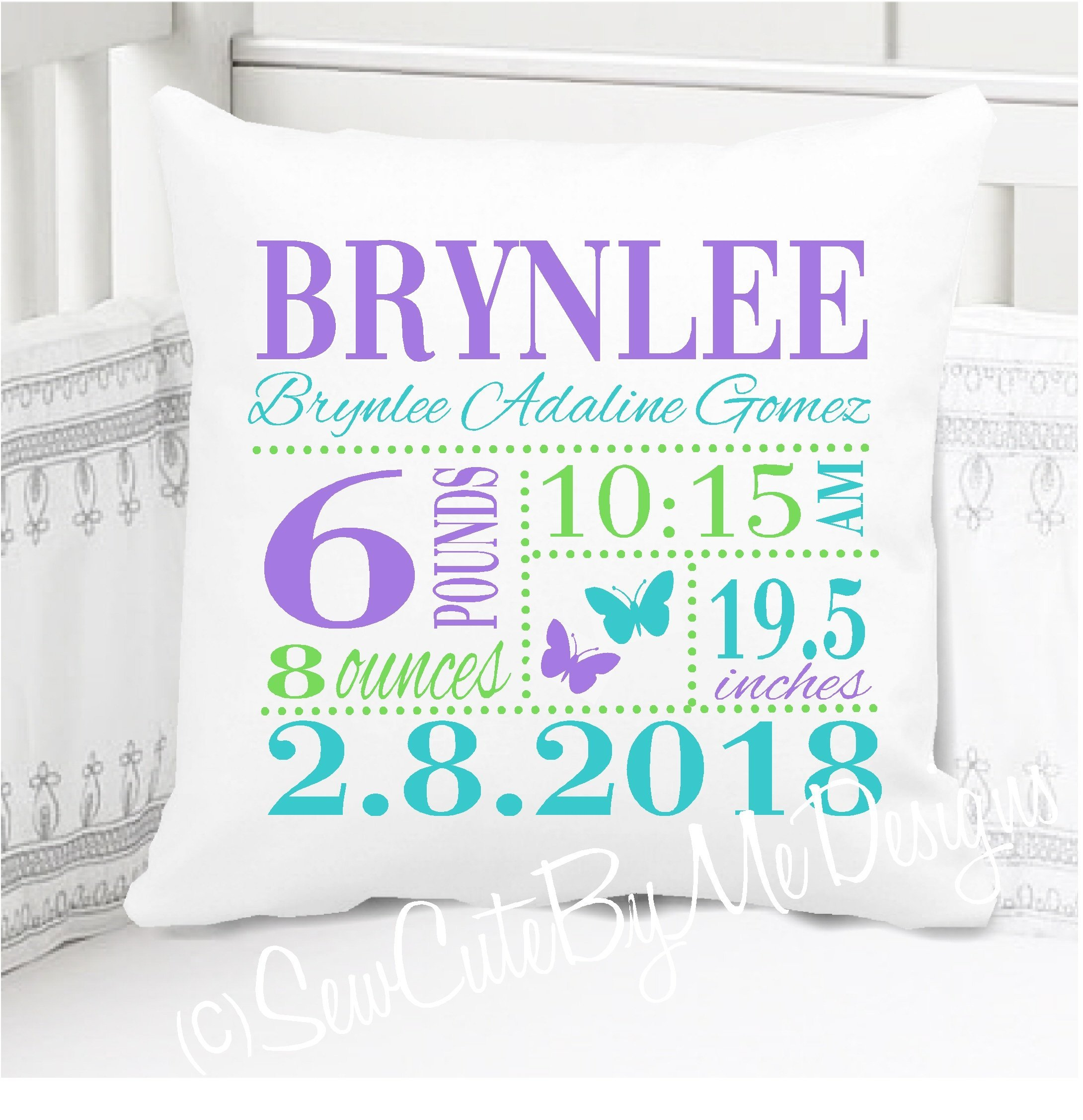 Sew Cute by Me Designs Birth Announcement Pillow for Baby Girls Nojo Butterfly Nursery in Lavender Aqua and Lime - Includes Personalized Pillowcase and Pillow Insert 14'' x 14'' or 16'' x 16''