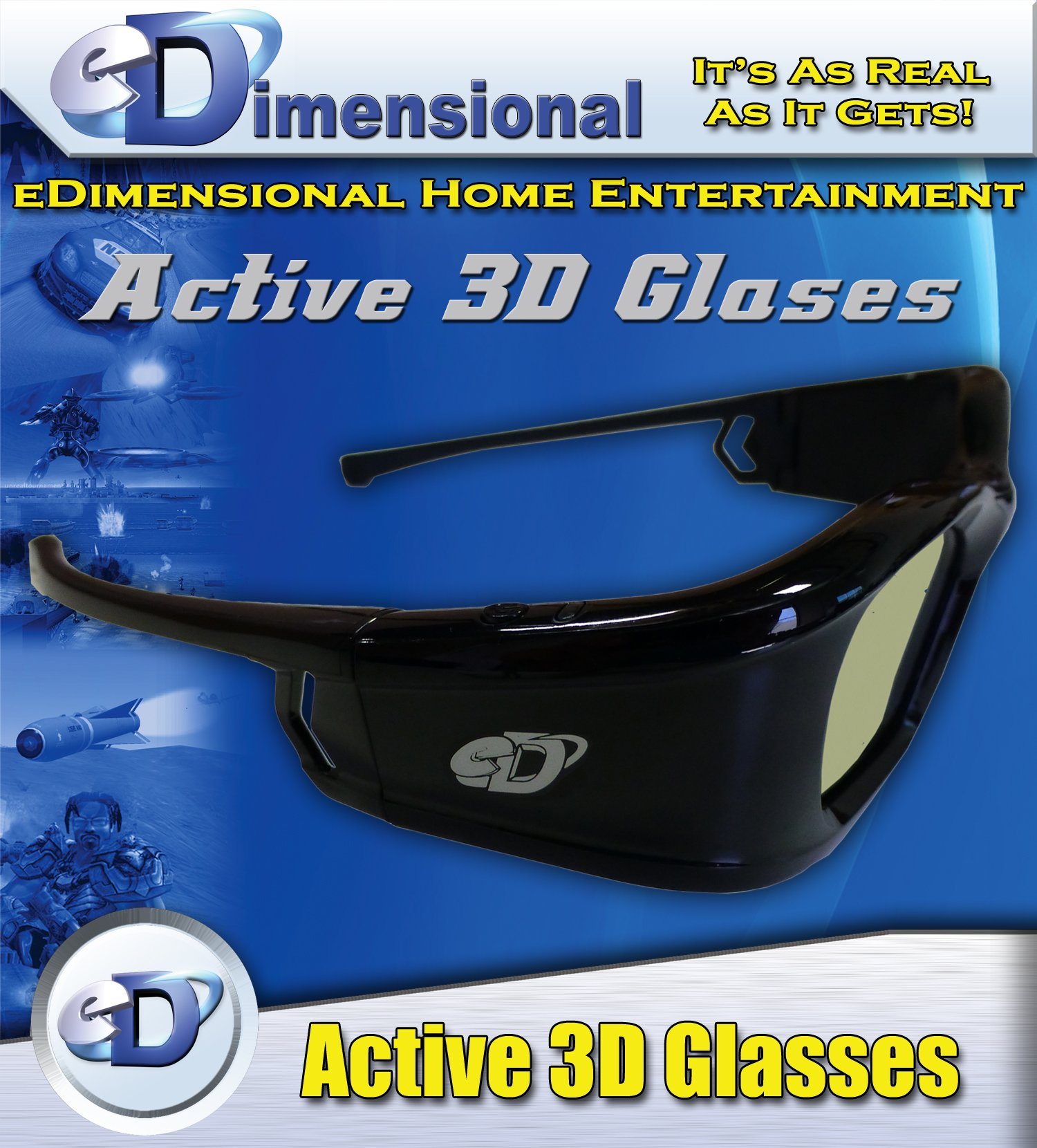 SAMSUNG Compatible eDimensional RECHARGEABLE 3D Glasses for 2011-15 Bluetooth 3D TV's