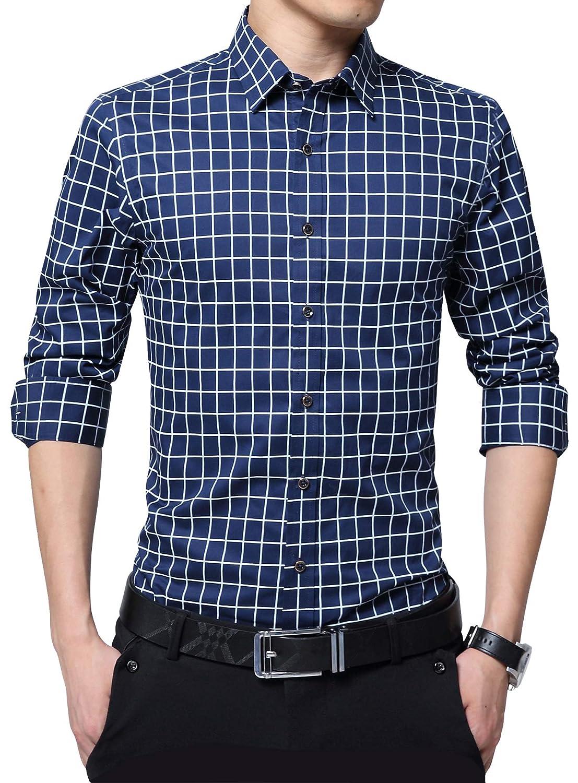 FRTCV Mens Slim Fit Cotton Business Casual Shirt Button Down Dress Shirts