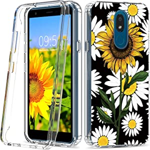 Skyfree LG Aristo 4 Plus Case LG Journey Clear Phone Cases Dual Layer Heavy Duty K30 Protective Cover Sunflower Cute Daisy LG Escape Plus Phone Case for Girls Women LG Tribute Royal