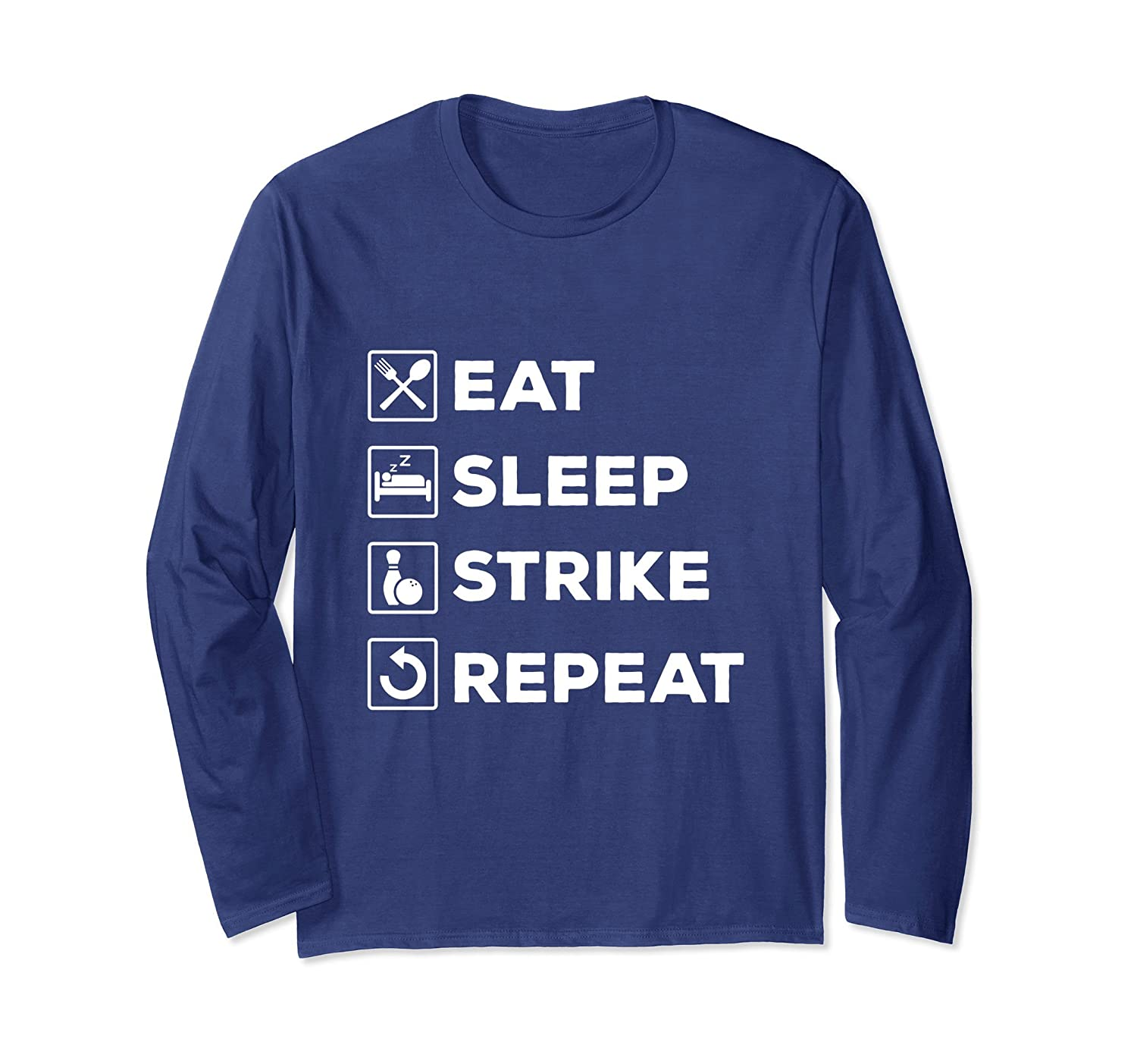 Amazon com: Eat Sleep Strike Repeat Bowler Long Sleeve Shirt Men