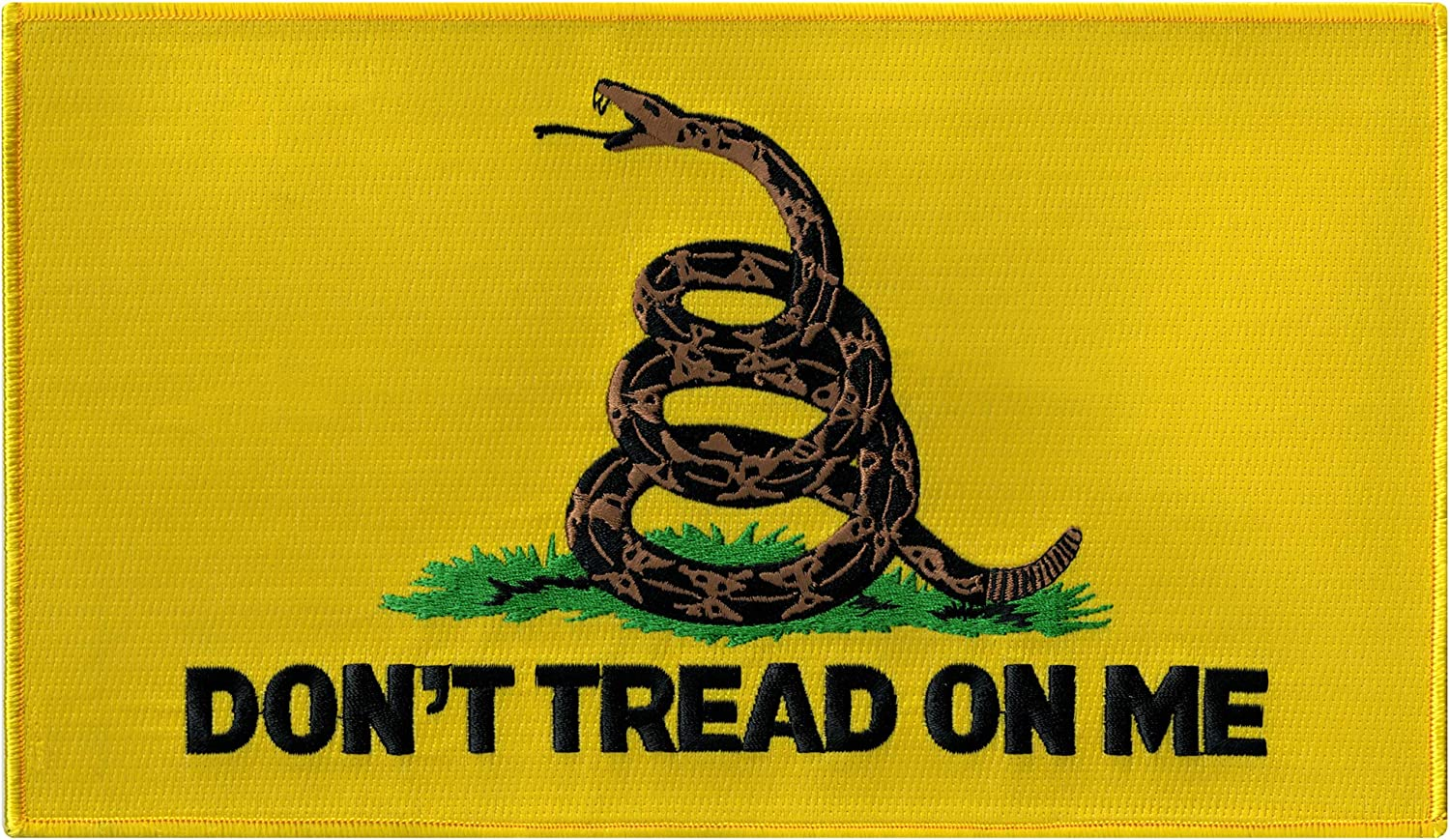 TREAD ON ME AND DIE GADSDEN FLAG PATCH DON/'T embroidered iron-on TEA PARTY NEW