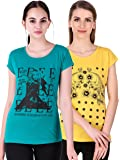 NIVIK Women's Cotton Printed Summer wear T-Shirt Combo