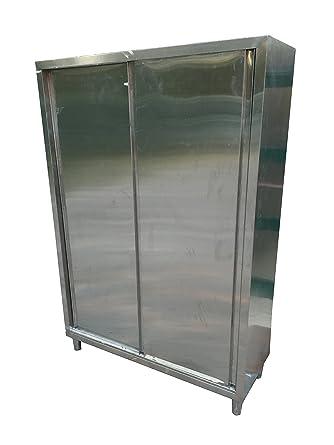 Armadio Inox Ante Scorrevoli.Armadio Acciaio Inox 100x50x180cm Due Porte Scorrevoli Per
