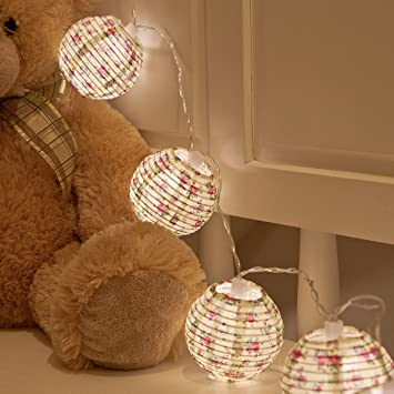 Chinese Paper Lanterns Warm White LEDs Battery Floral
