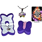 Girl's butterfly necklace gift set with cubic zirconia crystal wings set in white gold-plated setting, in purple and pink velour butterfly jewelry box with inspirational quote butterfly bookmark
