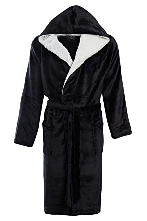 a2759108f9 Mens Luxury Super Soft Men Dressing Gown Hooded Bathrobe  Amazon.co.uk   Clothing