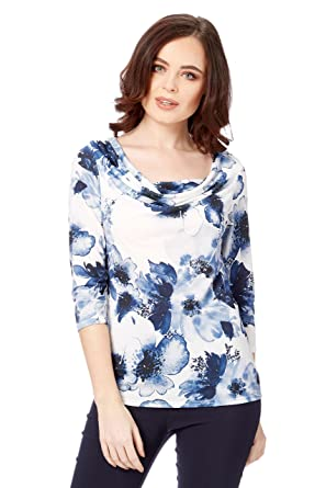 591804bd792a19 Roman Originals Women 3 4 Length Sleeved Summer Tops - Ladies Floral Print  Cowl Neck
