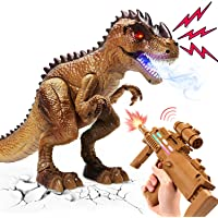 CUTE STONE Dinosaurs Toys for Kids, Remote Control Shooting Walking Roaring Dinosaur with Toy Rifle, Realistic Large T…