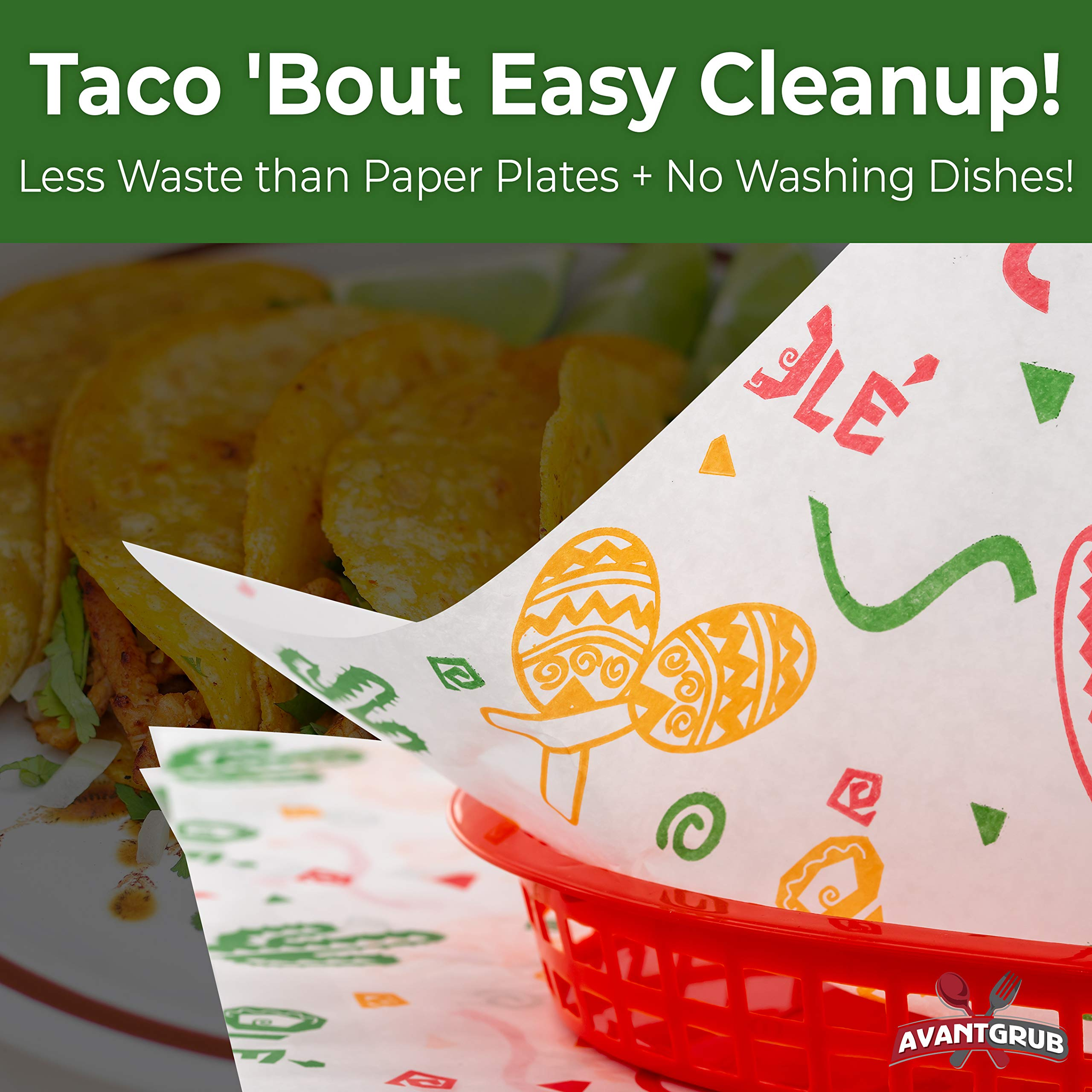 Fun, Fiesta Style 12in Deli Paper 1000 Ct. Greaseproof, Microwave-Safe Mexican Themed Tissue Great for Burrito Wrappers or Nacho Basket Liners. Southwest Party Supplies for Cinco de Mayo Celebration by Avant Grub (Image #6)
