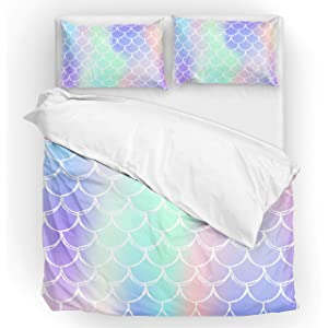U LIFE Bedding Duvet Cover Set Queen Size 3 Piece Set 1 Quilt Cover and 2 Pillow Cases Shams Mermaid Scale Striped Rainbow Galaxy for Kid Boy Girl Women Men
