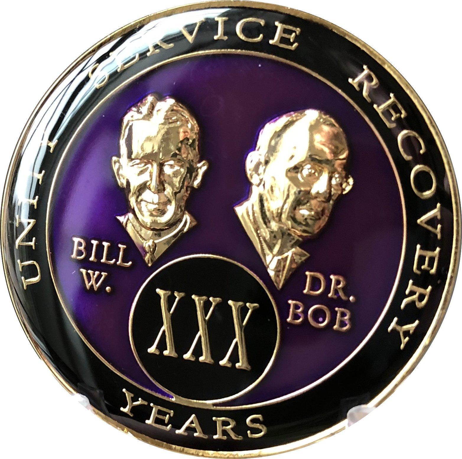 30 year AA Medallion Purple Tri-Plate Founders Bill & Bob Chip XXX