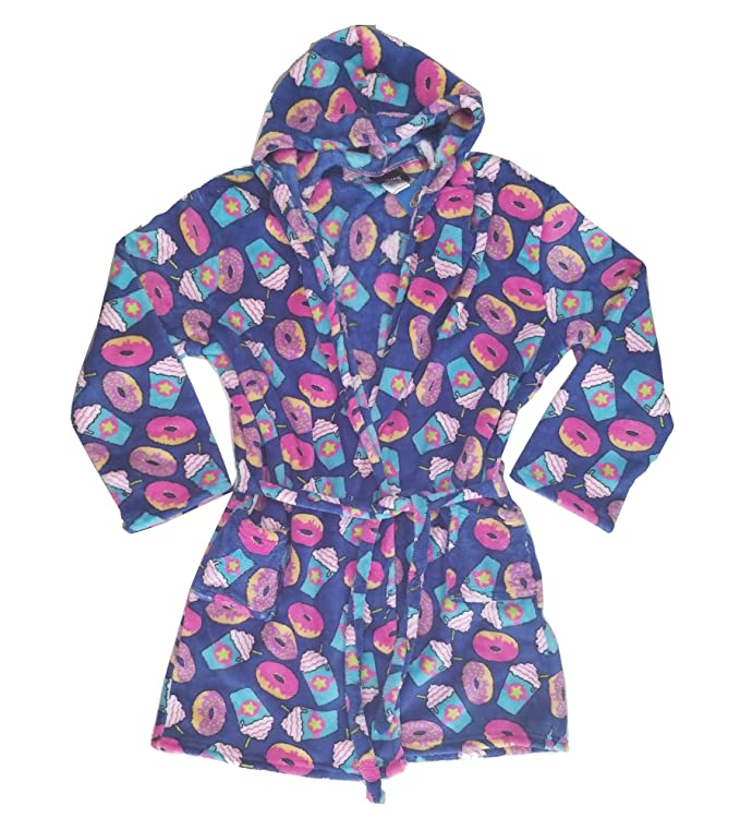 771ad8063738 Amazon.com  Confetti and Friends Kid s Fuzzy Plush Robe with Hood - Donut  Crazy  Clothing