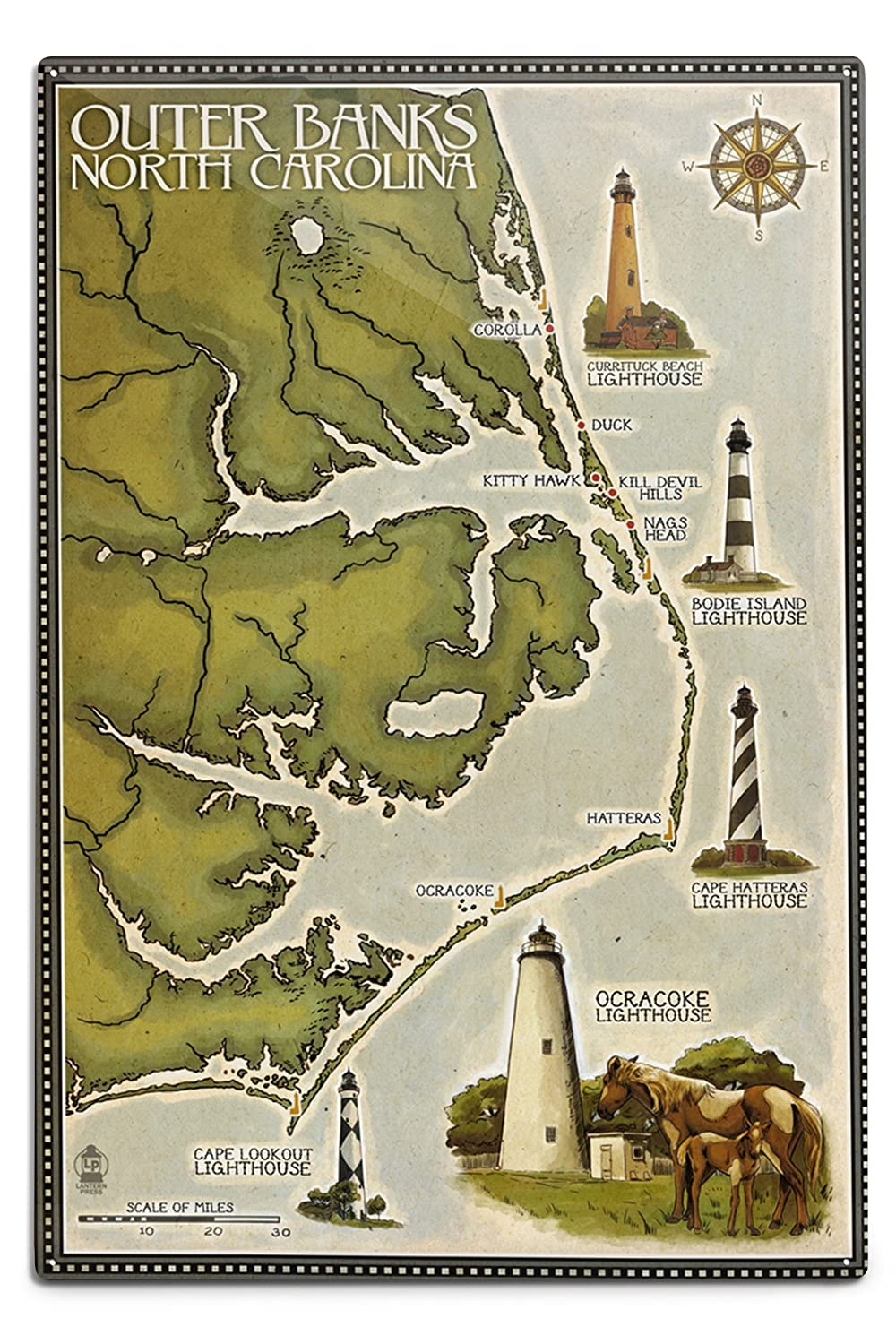 灯台と町マップ – Outer Banks , North Carolina 12 x 18 Metal Sign LANT-41078-12x18M 12 x 18 Metal Sign  B06Y1HDX4B