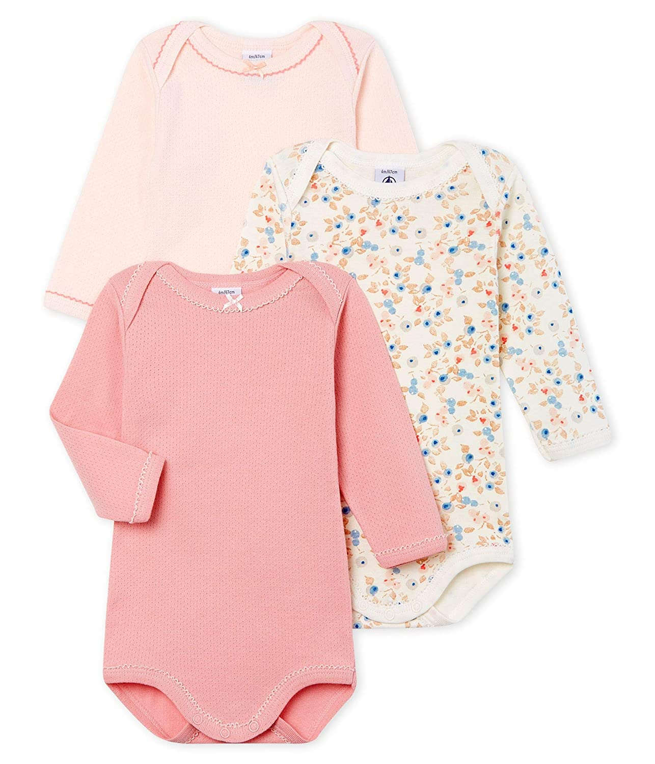 3-Piece Set Sizes 3-36//M Style 49950 Petit Bateau Baby Girls Long-Sleeved Bodysuit