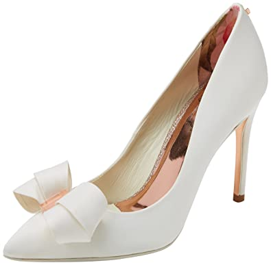 a4210a9a5ab Amazon.com  Ted Baker Women s Skalett Slip On Satin Bow High Heel Court Shoe  Ivory  Shoes