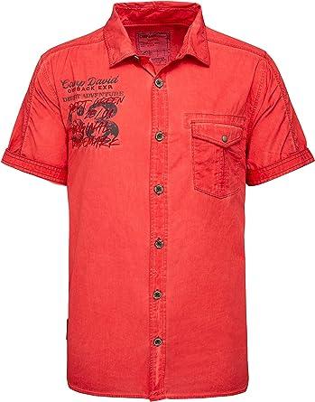 Camp David Oil Dyed - Camisa de manga corta para hombre, diseño de camuflaje