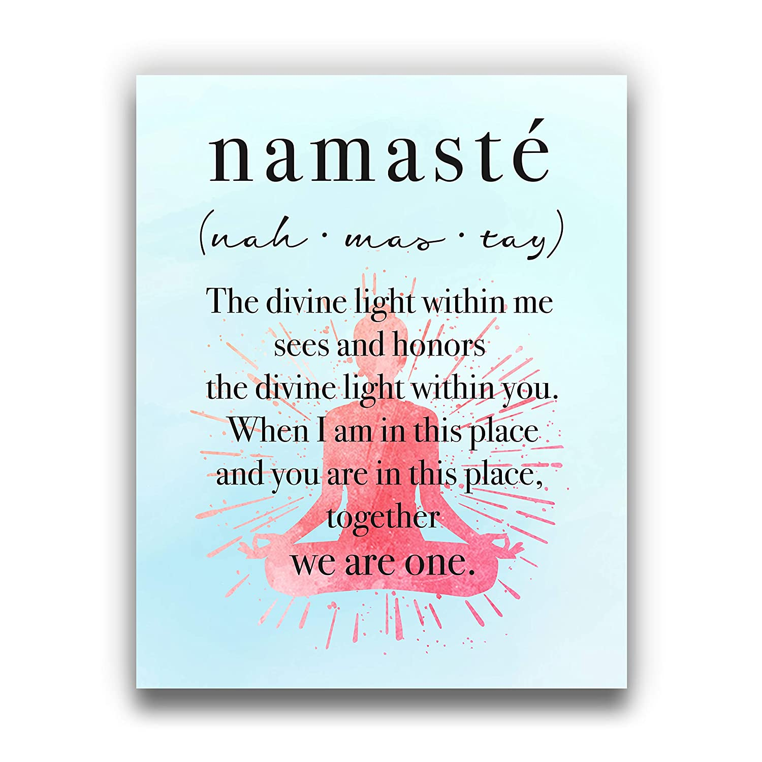 """Namaste """"Together, We Are One"""" Inspirational Quote   8x10 UNFRAMED Wall Art Print   Ideal Modern Home, Studio, or Office Décor   Yoga, Zen, Buddhist, Motivational Decor"""