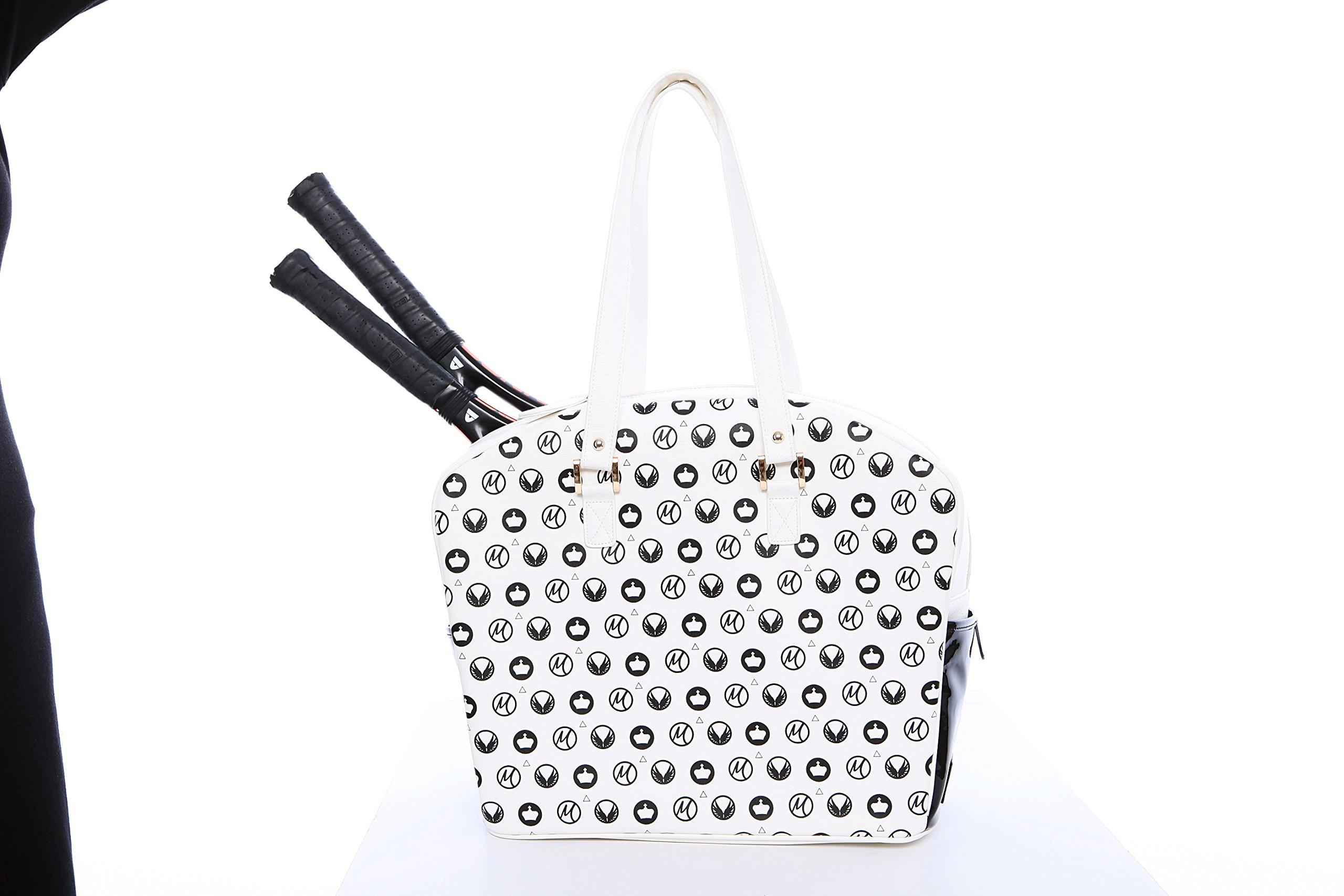 White Royal Designer Tennis Bag By Cortiglia Embellished By Marion Bartoli
