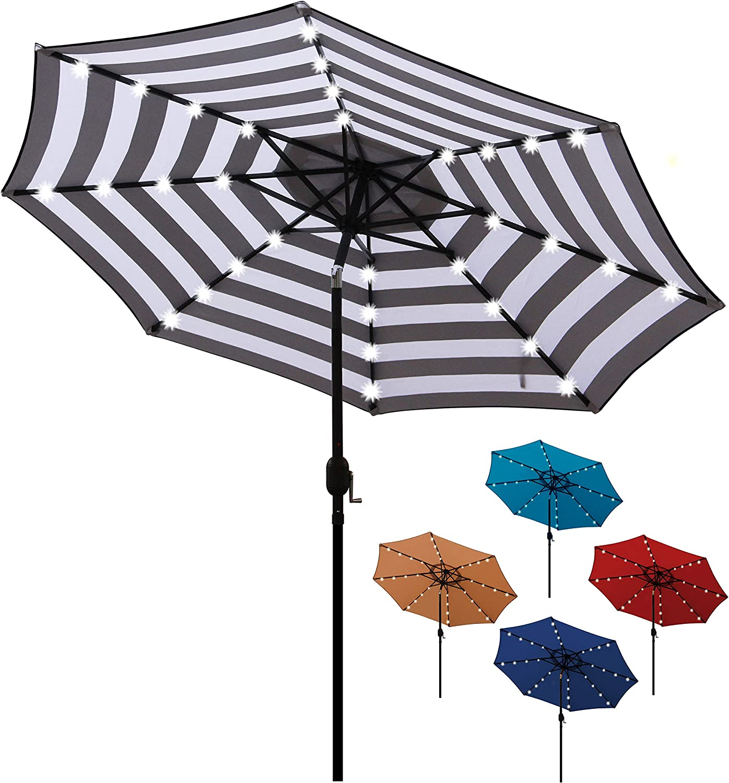 Market Striped Umbrella with Push Button Tilt and Crank Striped Patio Umbrella Tan Blissun 9 Outdoor Aluminum Patio Umbrella