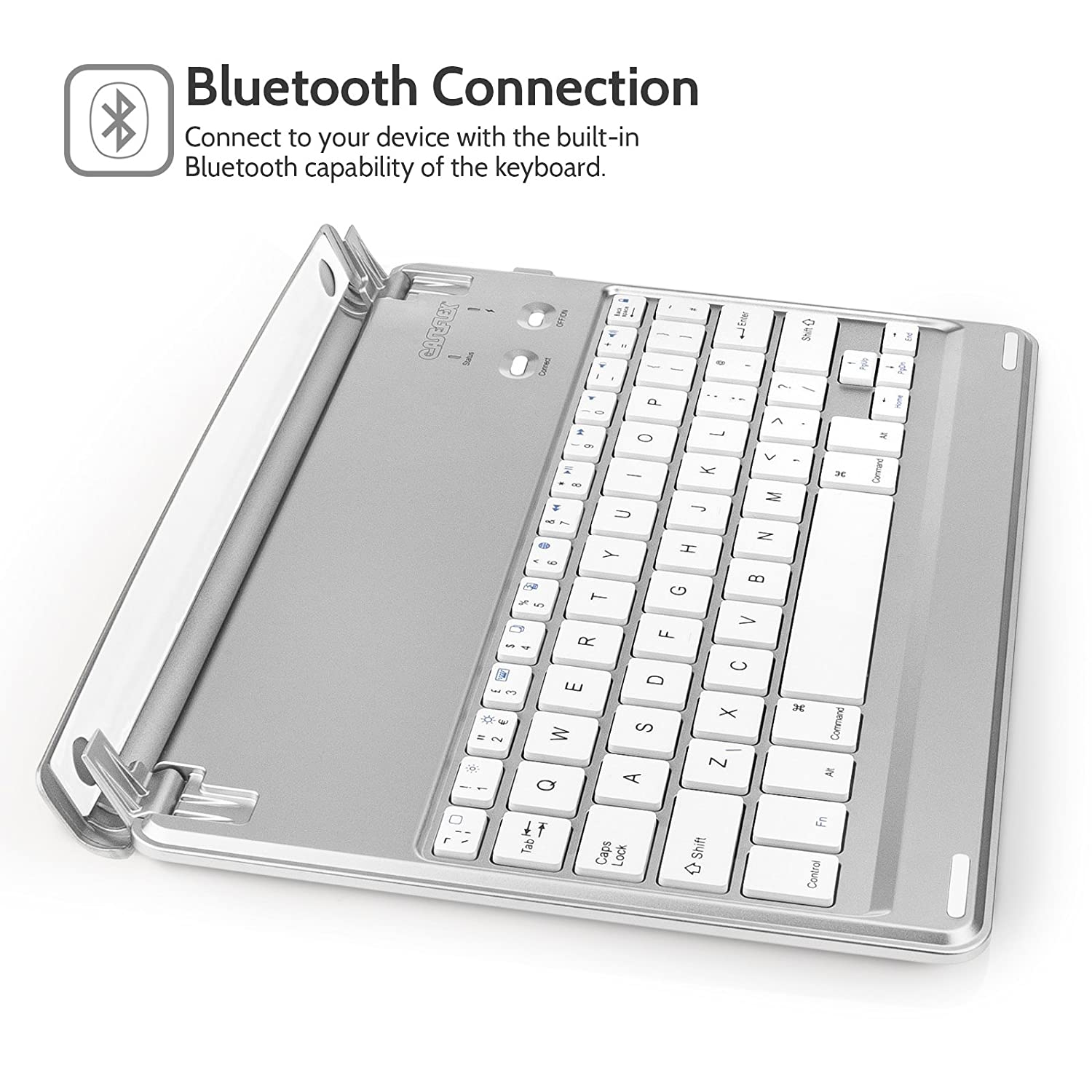 afddc57ea17 Caseflex Ultra Thin iPad Air / iPad Air 2 Bluetooth Keyboard Cover with Magnetic  Grip, Adjustable Holding Stand & Long Life Battery [UK QWERTY Layout] for  ...