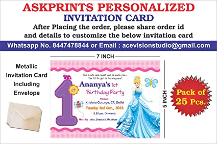 Askprints Personalized Birthday Metallic Card Invitations With