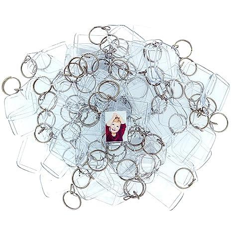 100 Llaveros con Marco para Fotos Acrílico Transparente por Kurtzy - Llavero en Blanco de 5,4cm x 3,2cm - Llavero Apto para Billetera para Insertar ...
