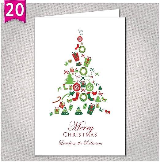 Personalizado tarjetas de Navidad – Pack de 10 X20 (incluye sobres): Amazon.es: Hogar