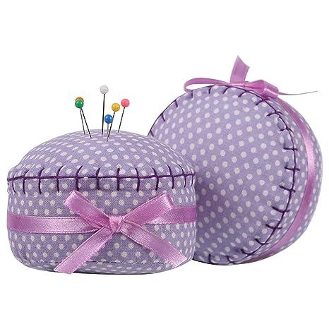 neoviva Floral con revestimiento de tela acolchada Pin Cojín en forma de cupcake con lazo de satén nudo para almacenamiento de aguja larga, tela, ...