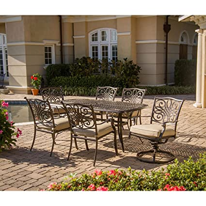 Hanover TRADITIONS7PCSW Traditions 7 Piece Deep Cushioned Outdoor Dining Set