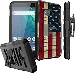 Untouchble Case for HTC U11 Life Case, HTC U11 Life [U11 Life Only] Case [Heavy Duty Clip] Shockproof Swivel Holster Case with Kickstand - Vintage America Flag